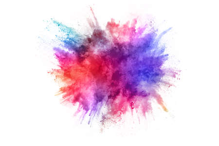 Abstract powder splatted background. Colorful powder explosion on white background. Colored cloud. Colorful dust explode. Paint Holi. Imagens