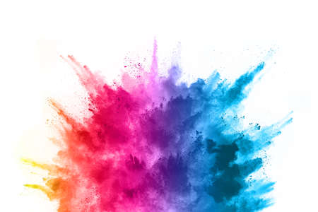 abstract powder splatted background. Colorful powder explosion on white background. Colored cloud. Colorful dust explode. Paint Holi. Reklamní fotografie