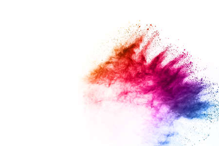 Abstract powder splatted background. Colorful powder explosion on white background. Colored cloud. Colorful dust explode. Paint Holi. Фото со стока