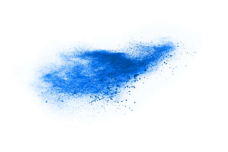 Blue color powder explosion on white background. Colored cloud. Colorful dust explode. Paint Holi.