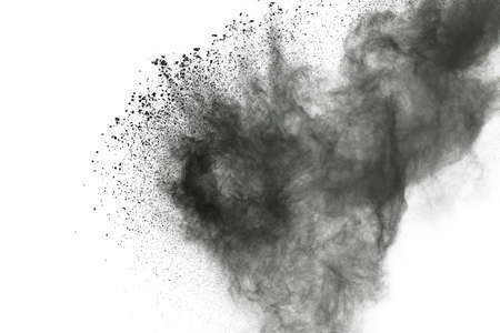 abstract colored dust explosion on a black background. Banque d'images