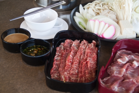 Shabu Japanese set on the table Stock Photo - 22021691