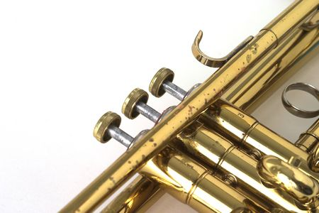 closeup of valves of a brass lacquer trumpet Stock Photo