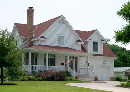 441053: Modern classic new old house design in suburban community flying the US flag out front