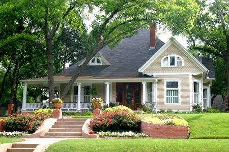 Extremely colorful classic restored house in rural city Stock Photo - 441545