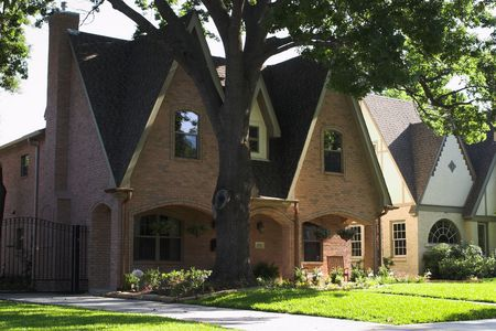 house with dramatically pitched roofline Stock Photo - 441532
