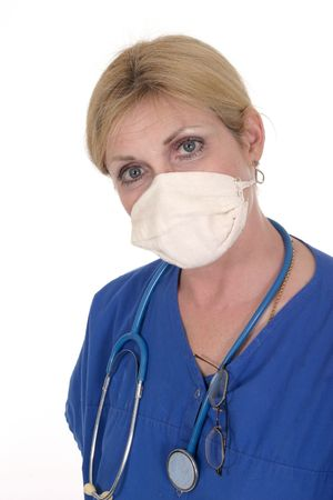 headshot photo of nurse or doctor with stethoscope glasses and surgical mask Stock Photo - 443482