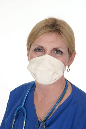 headshot photo of nurse or doctor with stethoscope and surgical mask Stock Photo - 443472