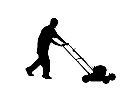 Silhouette of teenage young man mowing the lawn.  Includes clipping path.
