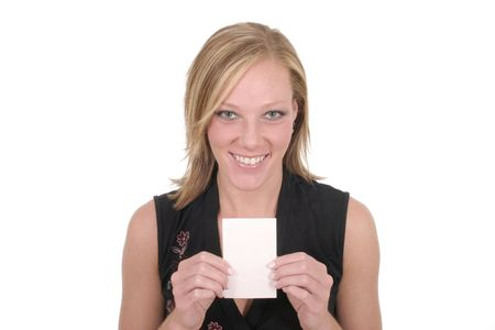 Attractive smiling business woman holding blank card with room for text. photo