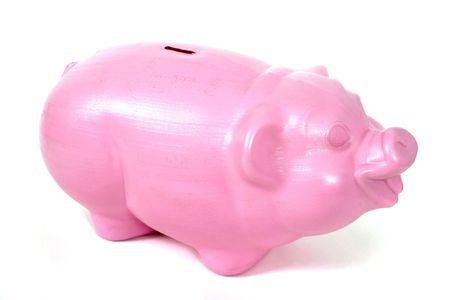 enters: Piggy bank sits alone.