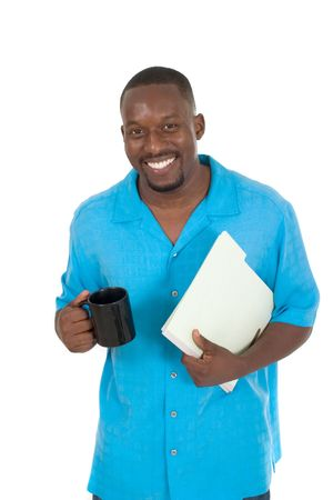 Smiling business man, teacher, professional medical doctor, or nurse relaxing with a cup of coffee and holding papers in a folder. photo