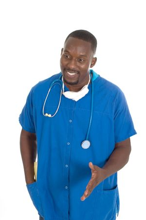 Handsome male doctor or nurse with stethoscope and a reassuring expression. photo