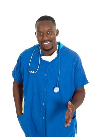 Handsome male doctor or nurse with stethoscope and a reassuring expression. Stock Photo - 466674