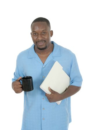 Smiling business man, teacher, professional medical doctor, or nurse relaxing with a cup of coffee and holding papers in a folder. Stock Photo