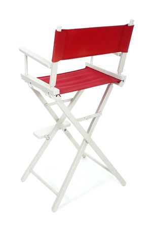 collapsible: Directors chair with red seat and back on a white frame. Isolated on white background.  Add your text or logo to the back of the chair.