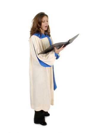 white robe: Beautiful woman church choir member in choir robe holding a music folder and singing.  Isolated on white.
