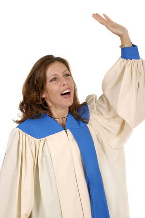 robe: Woman in church choir robe with her arms raised singing in charismatic praise to God.  Shot isolated on white background.  Horizontal orientation. Stock Photo