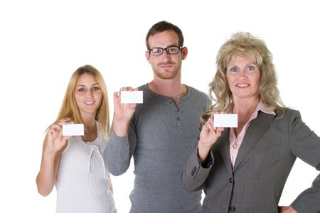 Three person business team with each holding a blank business card. Stock Photo - 565735