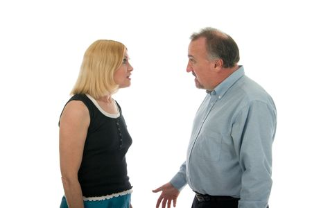 Man and woman in a heated argument. photo