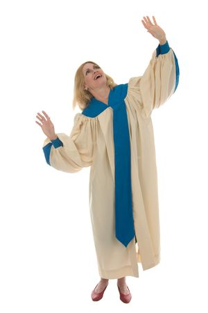 Woman in church choir robe with her arms raised in charismatic praise to God.  Shot isolated on white background.  Horizontal orientation. photo