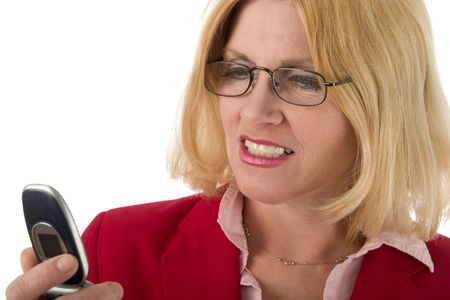 caller: Closeup headshot of beautiful blond woman wearing glasses looking at cellphones caller ID. Focus is on face, cellphone is slightly out of focus.