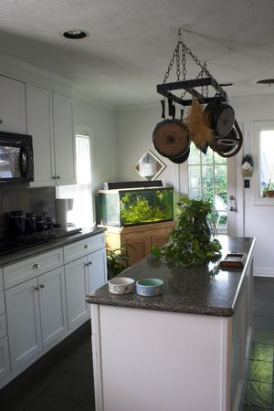 portrait orientation; light and bright gourmet kitchen
