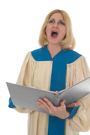 hymnal: Blond woman in a choir robe holding a music folder and singing.