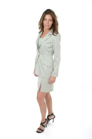 Beautiful brunette executive business woman in a business suit. photo