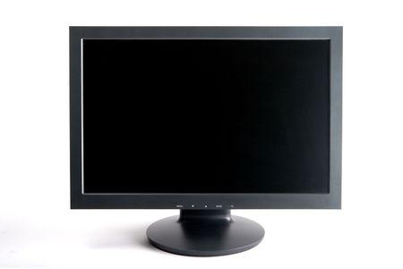 Blackdark grey wide screen computer monitor.