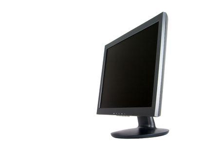 Angle view of blackdark grey wide screen computer monitor.
