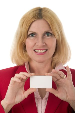 Attractive business woman displaying her blank business card with room for text.  Stock Photo - 840434