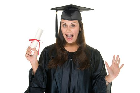 Very happy and proud beautiful young woman standing in graduation robes, cap and gown smiling and holding her diploma or degree. The graduate has moved the tassle from the left to the right side of the mortarboard. photo