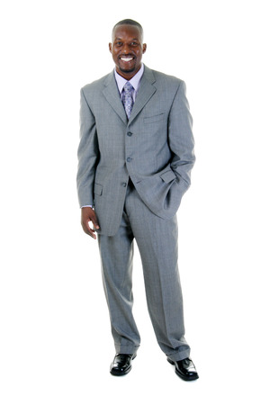 Handsome man in gray business suit. Stock Photo