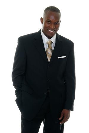 Handsome man in zwart pak. Stockfoto