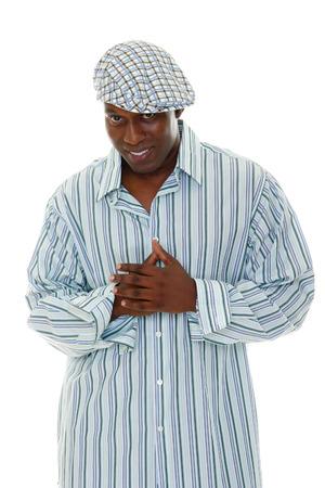 male fashion model: La camisa rayada que usaba modelo de la manera masculina ocasional y checkered el sombrero. Foto de archivo