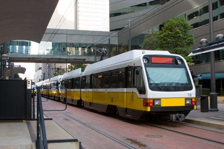 Light rail train in downtown Dallas. Stock Photo