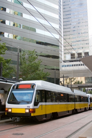 Light rail train in downtown Dallas. Stock Photo