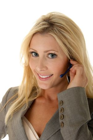 Happy, smiling blonde customer service representative taking your call. photo