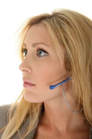 Beautiful blonde woman customer service representive attentively listening to your call. photo