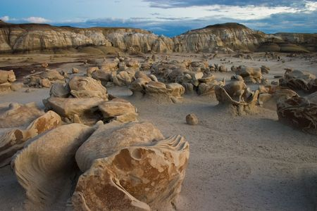 Very strange rock formations known as the dinosaur eggs in the Bisti Wilderness area in northwest New Mexico. Excellent example of the power of erosion. Stock Photo