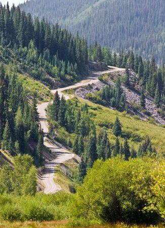Winding mountain road near Silverton, Colorado.
