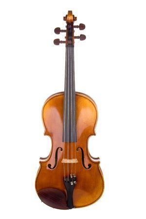 Klassieke viool of fiddle geïsoleerd op witte achtergrond gezien vanaf de voorzijde van het instrument.