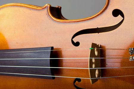 Close-up view of the bridge and strings of a violin.  Focus is on the bridge and strings with the body slightly out of focus.