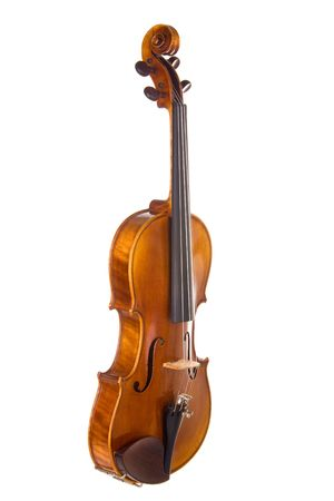 slight: Classical violin or fiddle isolated on white background. Instrument is turned at a slight angle away from camera.