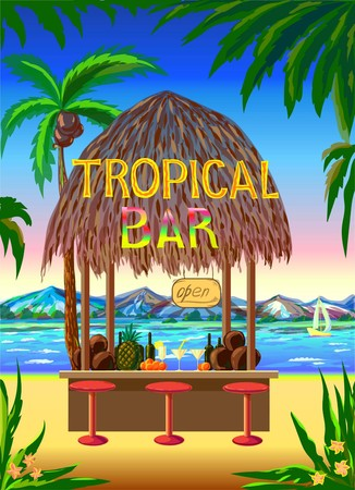 scenic: Tropical scenic beach bar background. Can be used for layout, cover page, web design, brochure template. color vector illustration Illustration