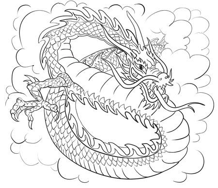 motif de dragon chinois, peut être utilisé pour le tatouage, silhouette illustration, vecteur