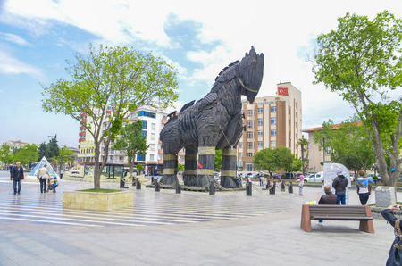 troya: Wooden Horse view in Canakkale,Turkey