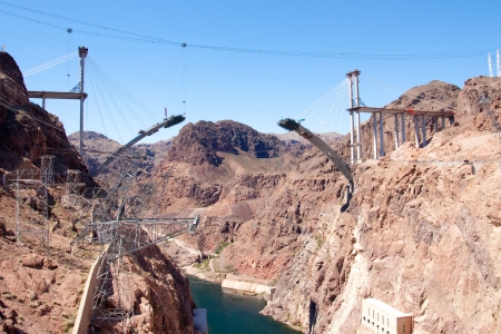 hoover dam: New Bridge construction at Hoover Dam