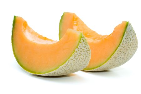 isolated on the white background: Close up of cantaloupe melon in isolated white background